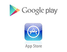 Iconos de Google Play y Apple Store